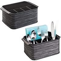 mDesign Range Couverts avec poignées – boîte de Rangement décorative pour Cuisine, Salle à Manger, Jardin ou Pique-Nique – Porte Couvert avec 5 Compartiments
