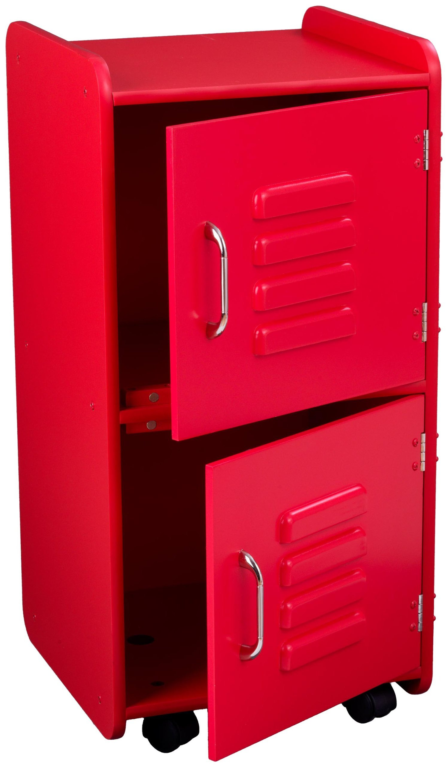 KidKraft Painted Wood Medium Storage Locker On Wheels with Two Compartments - Red by KidKraft