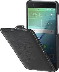 StilGut UltraSlim, Housse Huawei Nova en Cuir. Etui de Protection à Ouverture Verticale et Fermeture clipsée en Cuir véritable, Noir