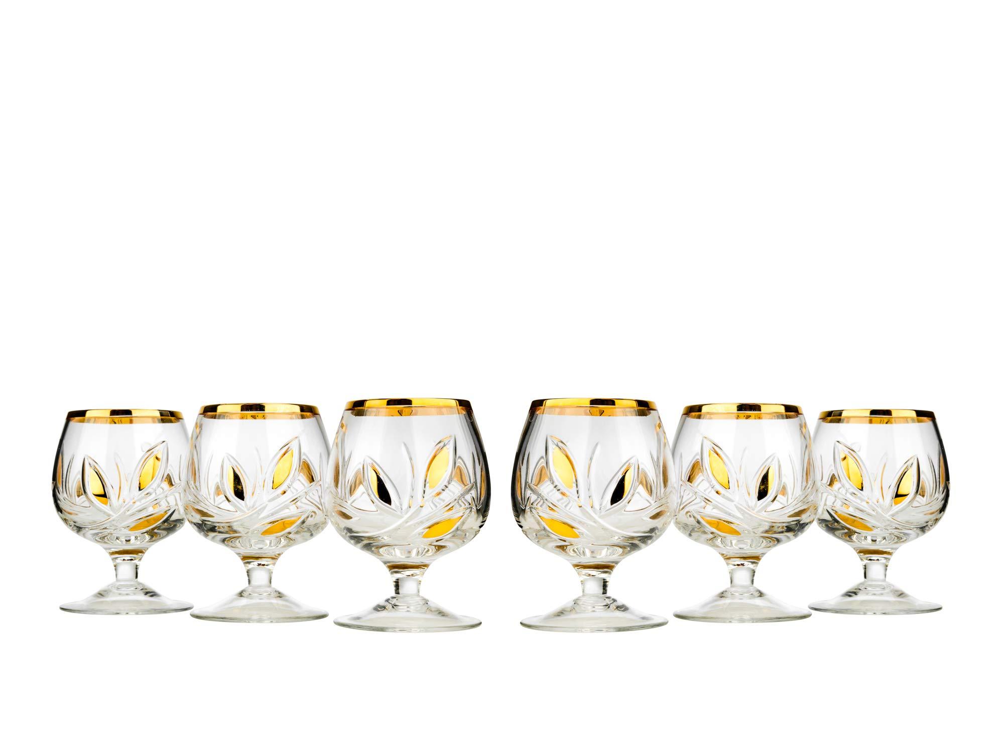 Neman GS5290G, Set of 6 Crystal Wine Glasses (7 Oz) and 6 Shot Glasses (1.7 Oz), Stemware, Stemmed Glasses