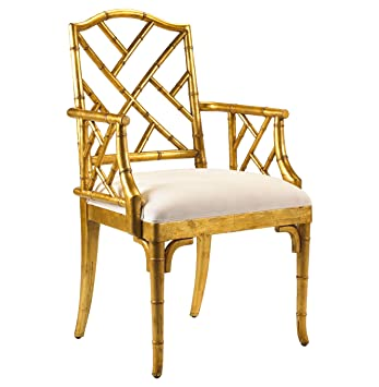 Merveilleux Chinese Chippendale Hollywood Regency Gold Bamboo Dining Arm Chair