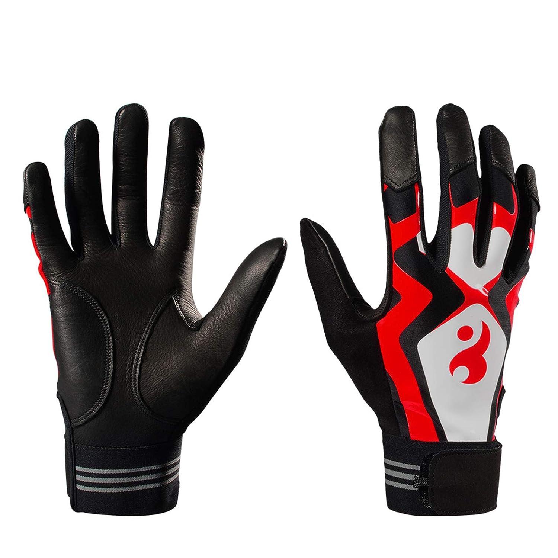 AmDxD Herren Baseball Rutschfest Handschuhe Atmungsaktiv Komfort Baseball Rot Handschuhe Größe Mittel