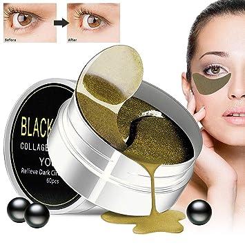 30 Pares / 60 Piezas Máscara de Ojos de Colágeno Perla Negra, Almohadillas Anti Envejecimiento, Anti Arrugas, Ojos Hinchados, Quitar Bolsas y Círculos ...