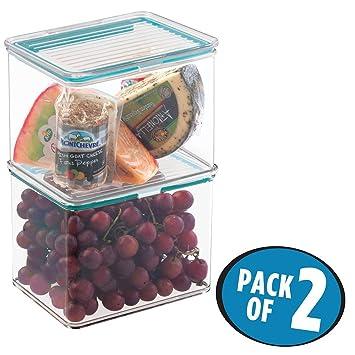 mDesign Juego de 2 envases plásticos para alimentos con tapa hermética – Cajas apilables de plástico
