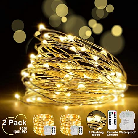 3x 50er LED Lichterkette 4,9m warmweiß 6//18h Timer Draht silber Batteriebetrieb