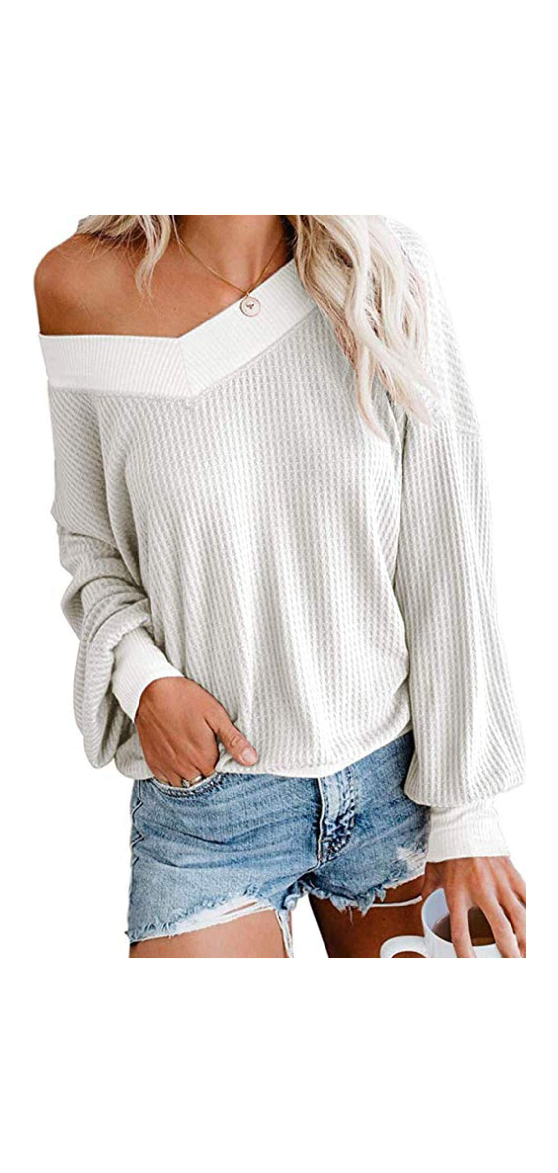 Womens V Neck Long Sleeve Casual Waffle Knit Tops Off
