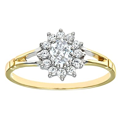 Citerna 9ct Yellow and White Gold Stone set Cluster Ring uT92KANE