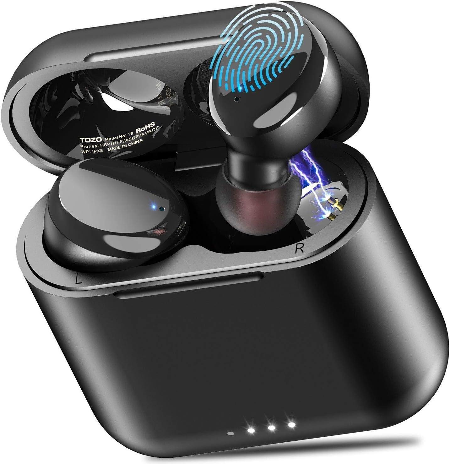 TOZO T6 Auriculares Bluetooth 5.0 Auriculares Inalámbricos Control Táctil con estuche de carga y micrófono Integrado, Sonido Premium con Graves Profundos para Correr y Hacer Deporte Negro