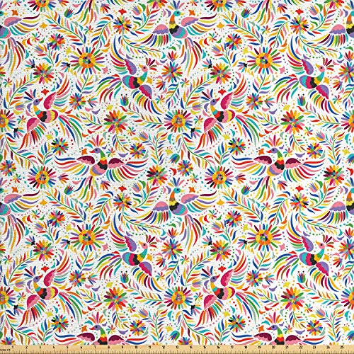 Ambesonne Mexican Fabric by The Yard, Colorful Nature Inspired Ethnic Pattern Birds Flowers Leaves and Dots Creativity, Decorative Fabric for Upholstery and Home Accents, 1 Yard, - Upholstery Dots