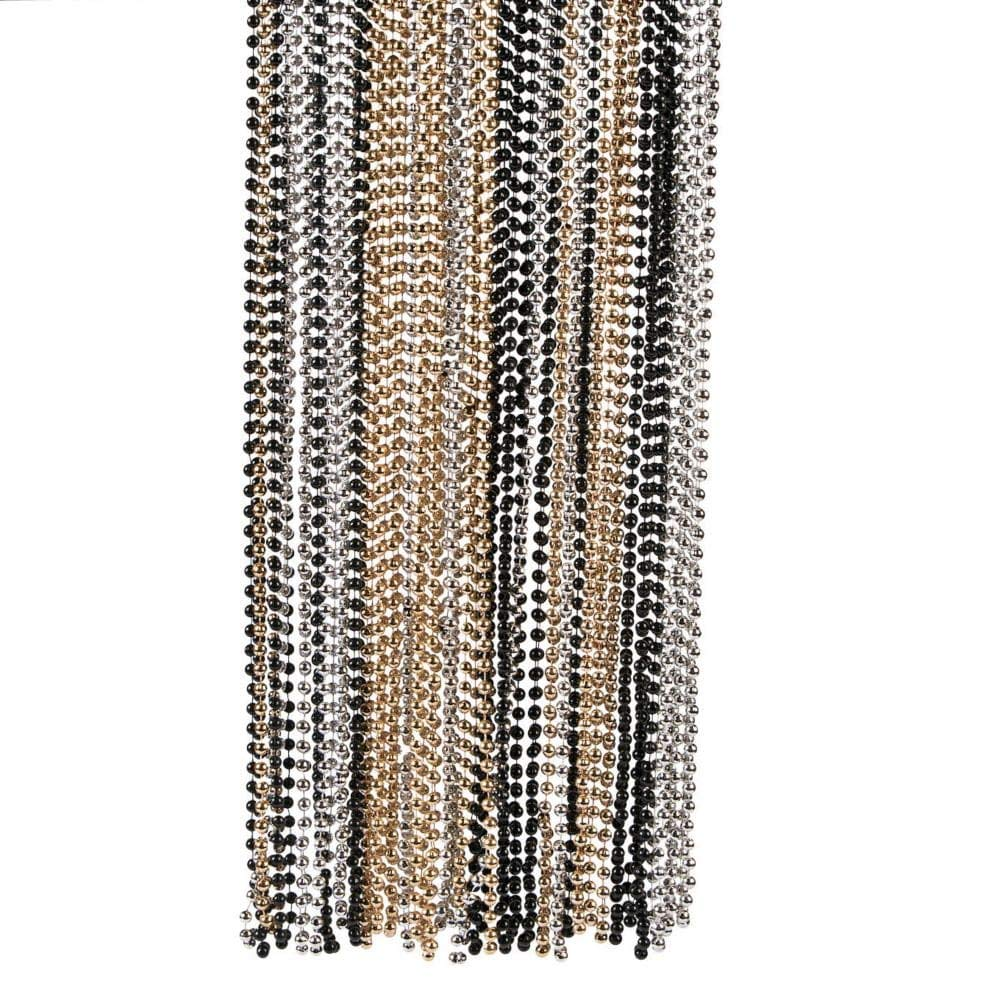 Gold, Black and Silver Bead Necklaces (set of 48) Bulk Mardi Gras Supplies by Fun Express