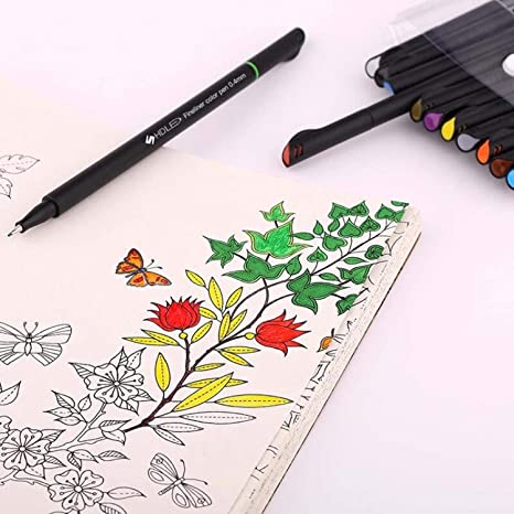 20 x Felt Tip Pens Fine Brush Various Colours Kids Children Arts Markers Drawing