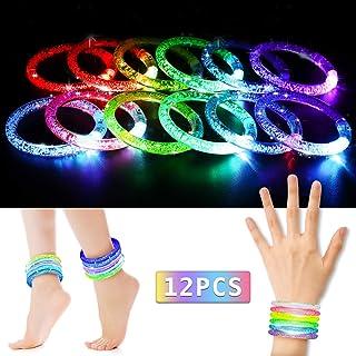 NASUM Braccialetti Luminosi, 12 PCS 6 Colori Braccialetti, Fluorescenti Starlight Fun LED per Bambini/Adulti per Party, Feste, Concerti, Celebrazioni, Compleanno