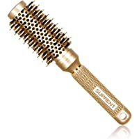 [Upgraded] SUPRENT Nano Thermal Ceramic & Ionic Round Barrel Hair Brush with Boar Bristle, Blowout Brush for Blow Drying, Curling&Straightening, Perfect Volume and Shine (Barrel 1.3 Inch)