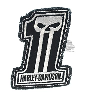 Harley Davidson Dark Custom White 1 Skull Logo Cotton Patch
