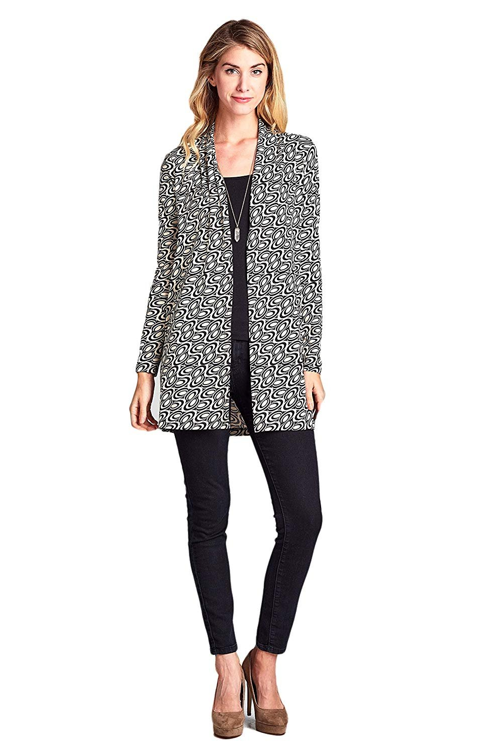 [ReneeC.][ReneeC. レディースカーディガンWomen`s Lightweight Open Front Multi Print Cardigan - Made In USA ](並行輸入品) B07FC8TS2S XX-Large|Black Ivory Black Ivory XX-Large