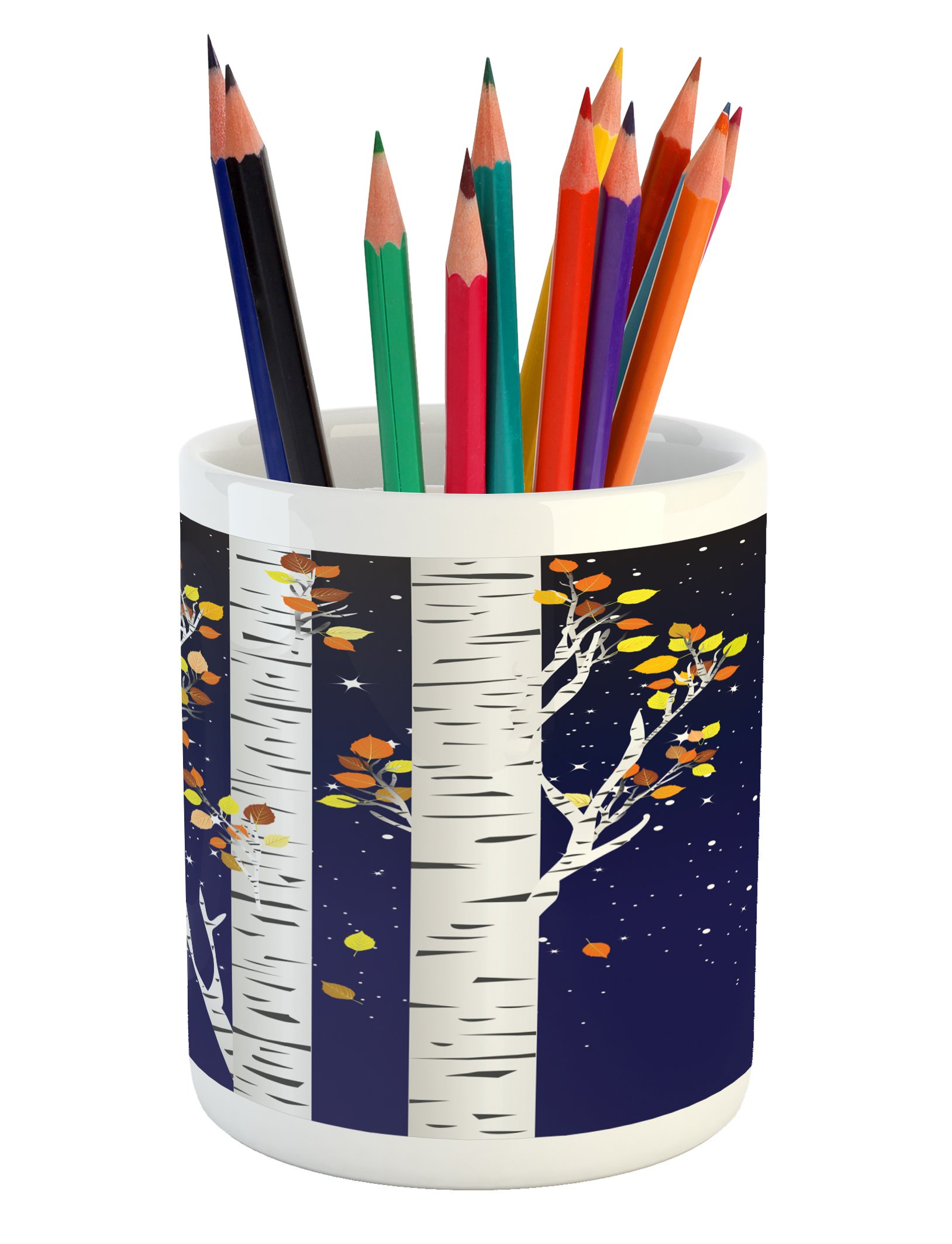 Ambesonne Autumn Pencil Pen Holder, Birch Trees with Colorful Fall Season Foliage Leaves on a Starry Night Sky Backdrop, Printed Ceramic Pencil Pen Holder for Desk Office Accessory, Multicolor