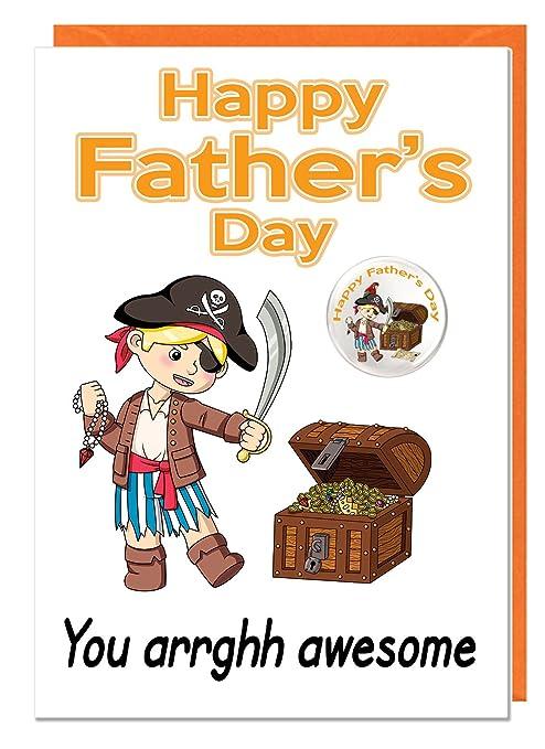 Divertida tarjeta temática de pirata para el día del padre ...