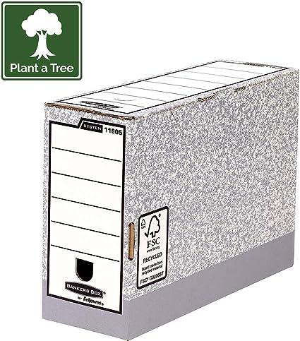 Bankers Box 11805 - Caja de archivo definitivo automático, folio, lomo 120 mm, gris jaspeado: Amazon.es: Oficina y papelería
