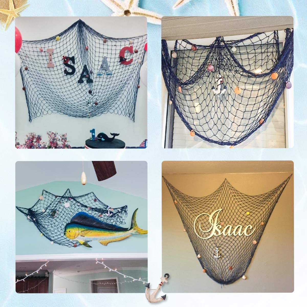 KING DO WAY Decorative Fish Netting Fishing Net Decoration 79/×59inch Ocean Pirate Beach Theme for Party Home Decorations Mediterranean Style Decor Nautical Decorative Fish Net with Sea Shells and Anchor Blue /… blue