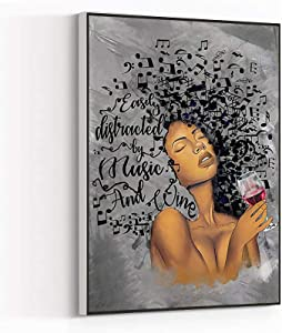 Master Bedroom Decor,large wall decor for living room,beach canvas,Easily Distracted By Music and Wine Poster,Black Woman Art Print,African America Canvas,16''x24'' Framed Modern Canvas Wall Art,