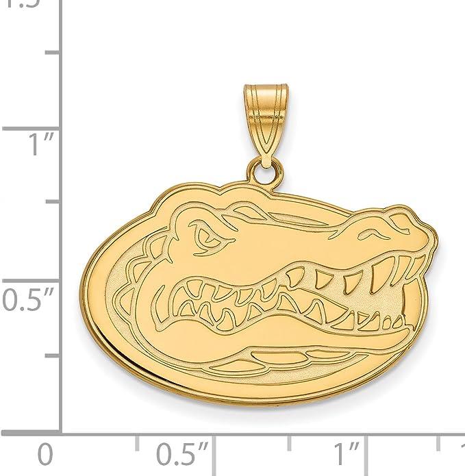 University of Florida Gators School Mascot Inside Football Shaped Pendant in Gold Plated Silver 14x20mm