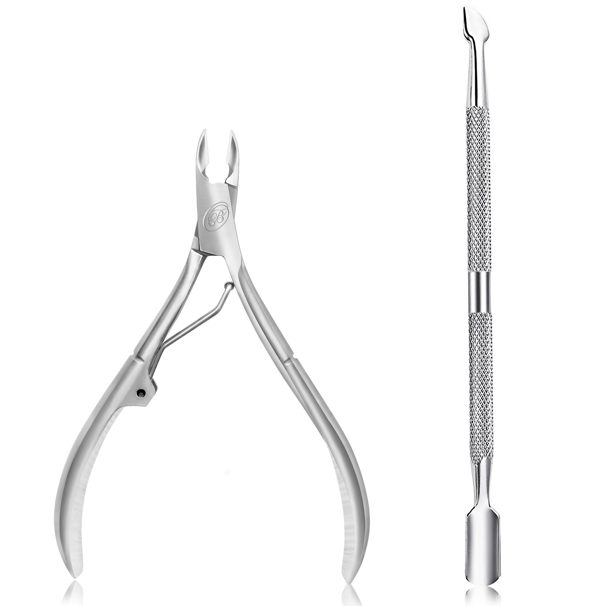 Cuticle Nipper with Cuticle Pusher-Professional Grade Stainless Steel Cuticle Remover & Cutter-Durable Manicure and Pedicure Tool-Beauty Tool Perfect for Fingernails and Toenails (Silver)