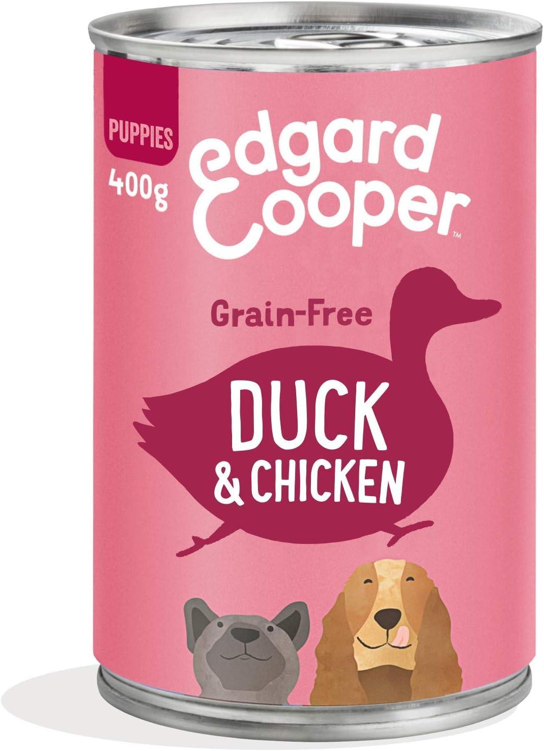 Edgard & Cooper Comida húmeda Perros Cachorros sin Cereales, Natural con Pato y Pollo de Granja, con prebióticos para una digestión Saludable. Carne ...