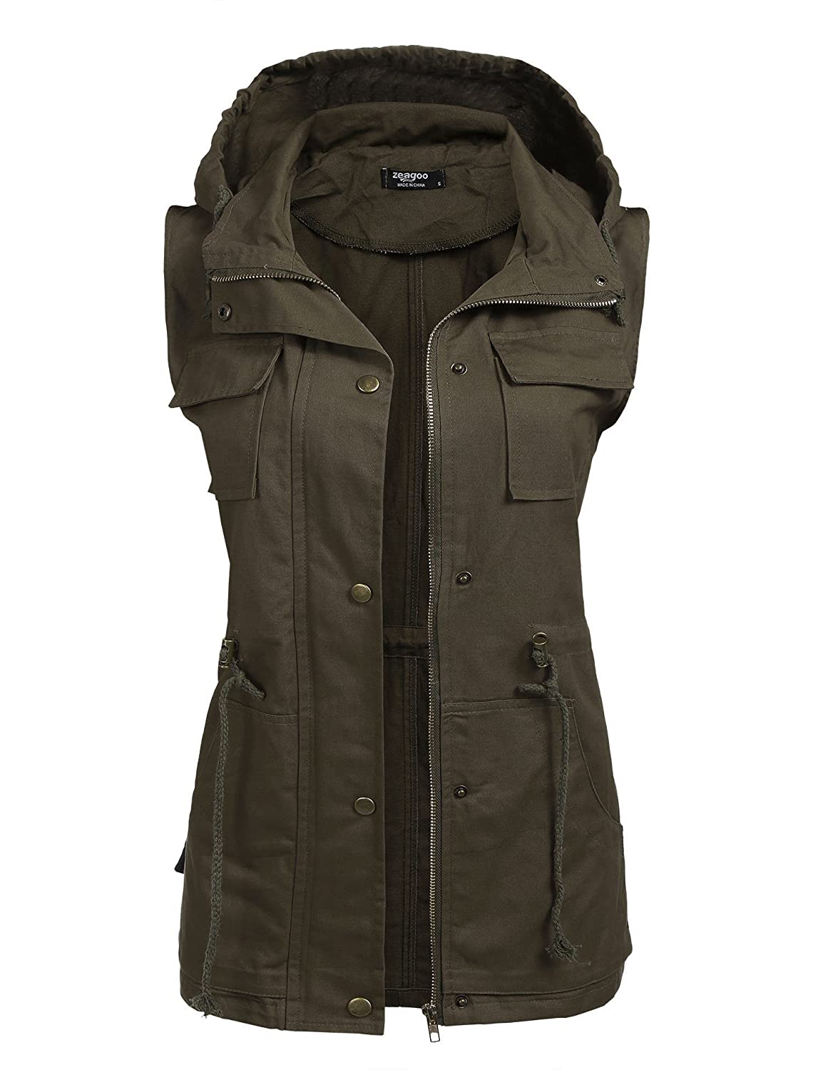 Beyove Womens Lightweight Sleeveless Military Anorak Vest **BVH005702