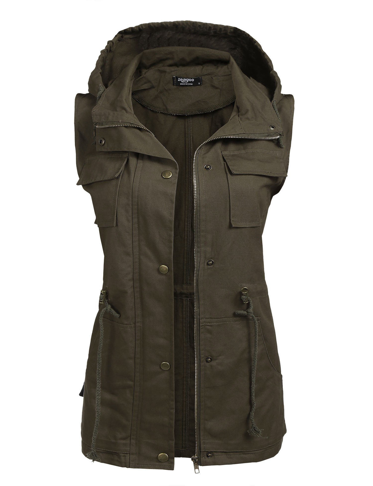 Beyove Womens Lightweight Sleeveless Military Anorak Vest (S, (A) Army Green 1) by Beyove
