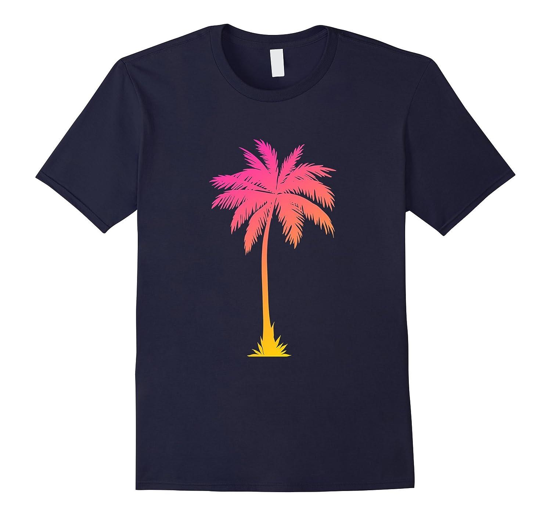 Casual Trendy Hot Summer Palm Tree Gold Pink Blend T-shirt-Art