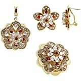Gem Avenue Gold Plated Floral Design with Clear and Red Glass Stones Earrings Pendant and Ring Set