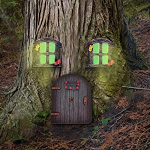 Veichin Fairy Doors for Trees Outdoor | Garden Doors and Windows Gnome House Miniature Yard Decor Art Sculptures Mystical Decoration Trunk Brown Cute Lawn Ornament