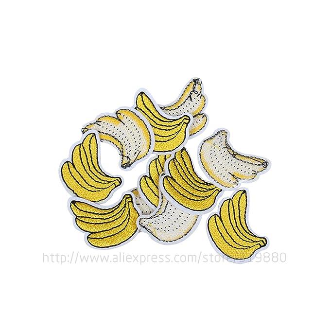 HDTTCX - Parche para planchar - transferencia parche para ropa - 20 piezas/lote plátano parche bordado hierro sobre tela parches para coser en diseño ...