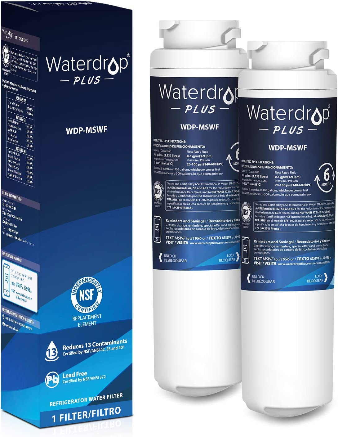 Waterdrop Plus Refrigerator Water Filter, Compatible with GE MSWF, 101820A, 101821B, 101821-B, Reduces Lead, Chlorine, Cyst, Benzene and More, NSF 401&53&42 Certified, Pack of 2