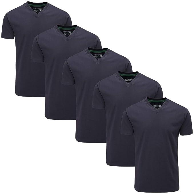 Charles Wilson Paquete 5 Camisetas Cuello Pico Lisas: Amazon.es: Ropa y accesorios