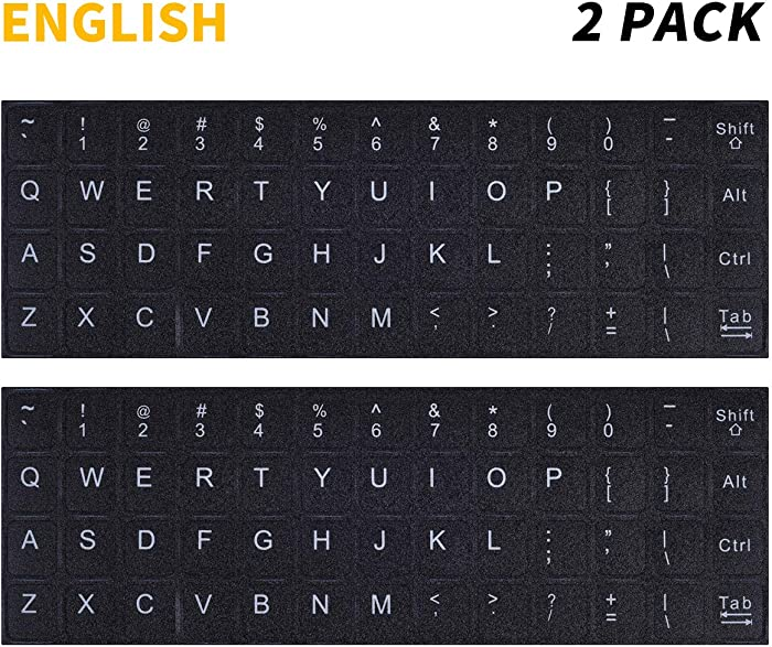 2PCS Pack Universal English Keyboard Stickers, Computer Keyboard Stickers Black Background with White Lettering for Computer Laptop Notebook Desktop (English)