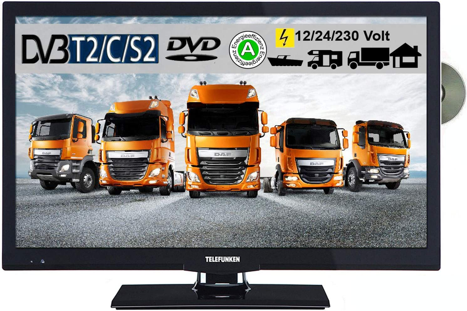 Telefunken l22 F275 X 3 LED TV de 22 Pulgadas 55 cm TV con DVD DVB-S/S2, DVB-T, DVB-C, USB, Clase de eficiencia energética A, 230 V/12 V/24 V: Amazon.es: Electrónica