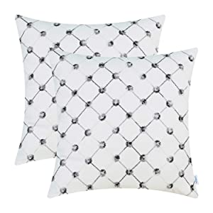 CaliTime Pack of 2 Supersoft Throw Pillow Covers Cases for Couch Bed Sofa Decor Modern Diamonds Shape Trellis Geometric Chain Embroidered 18 X 18 Inches White