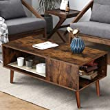 Modern Coffee Table Wood Coffee Tables for Living Room Small Mid Century Boho Coffee Table with Storage Retro Coffee Table fo