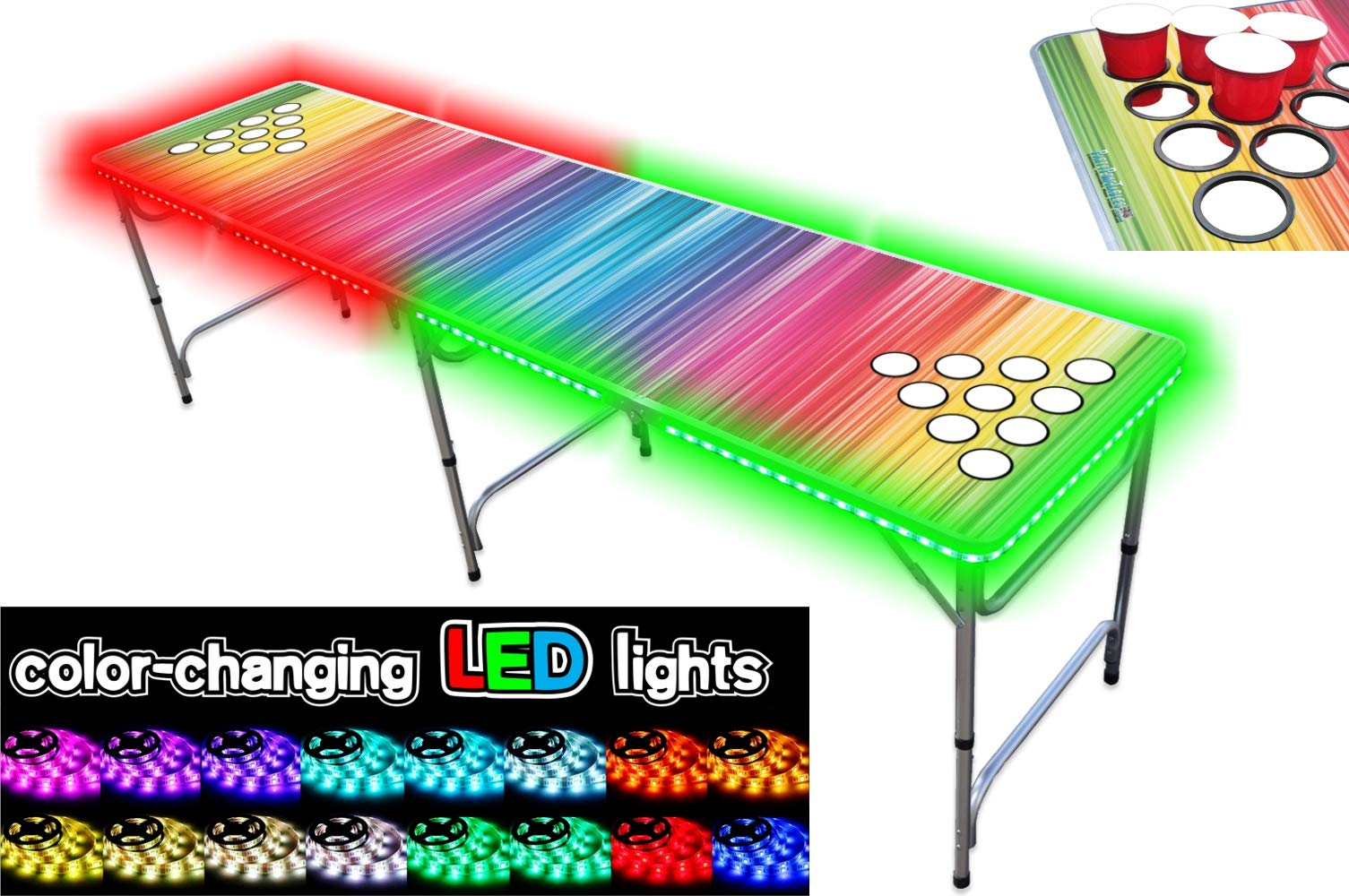 PartyPongTables.com 8-Foot Beer Pong Table with Cup Holes and LED Lights - Color Spectrum by PartyPongTables