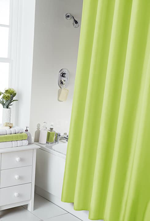 VIBRANT LIME GREEN SHOWER CURTAIN 180CM X INCLUDES RINGS