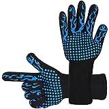 耐熱グローブ バーベキューグローブ クッキンググローブ 最高耐熱温度800℃ 滑り止め 左右兼用 鍋掴み 料理用手袋調理道具 bbq 電子レンジ オーブン 2枚セット (蓝)
