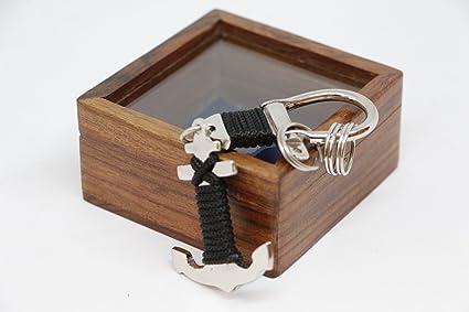 llavero ancla caja madera niquel nautica marinero capitan ...