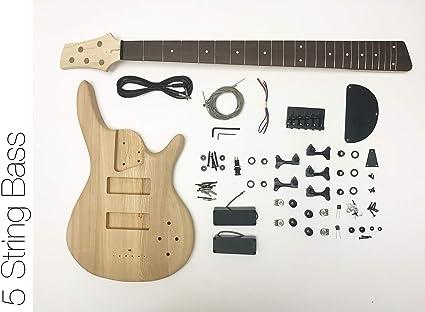 DIY Kit de guitarra eléctrica Bass – 5 cuerdas graves de fresno ...