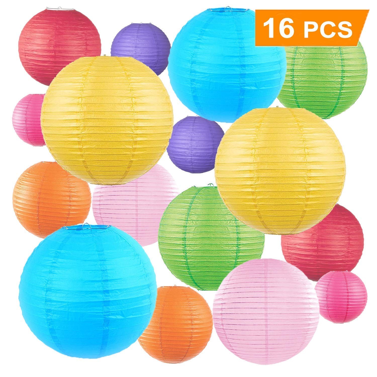 "16 Pcs Colorful Paper Lanterns Lampshade (Multicolor, Size of 4"", 6"", 8"", 10"") - Chinese/Japanese Paper Hanging Decorations Ball Lanterns Lamps for Home Decor, Parties, and Weddings Size of 4"