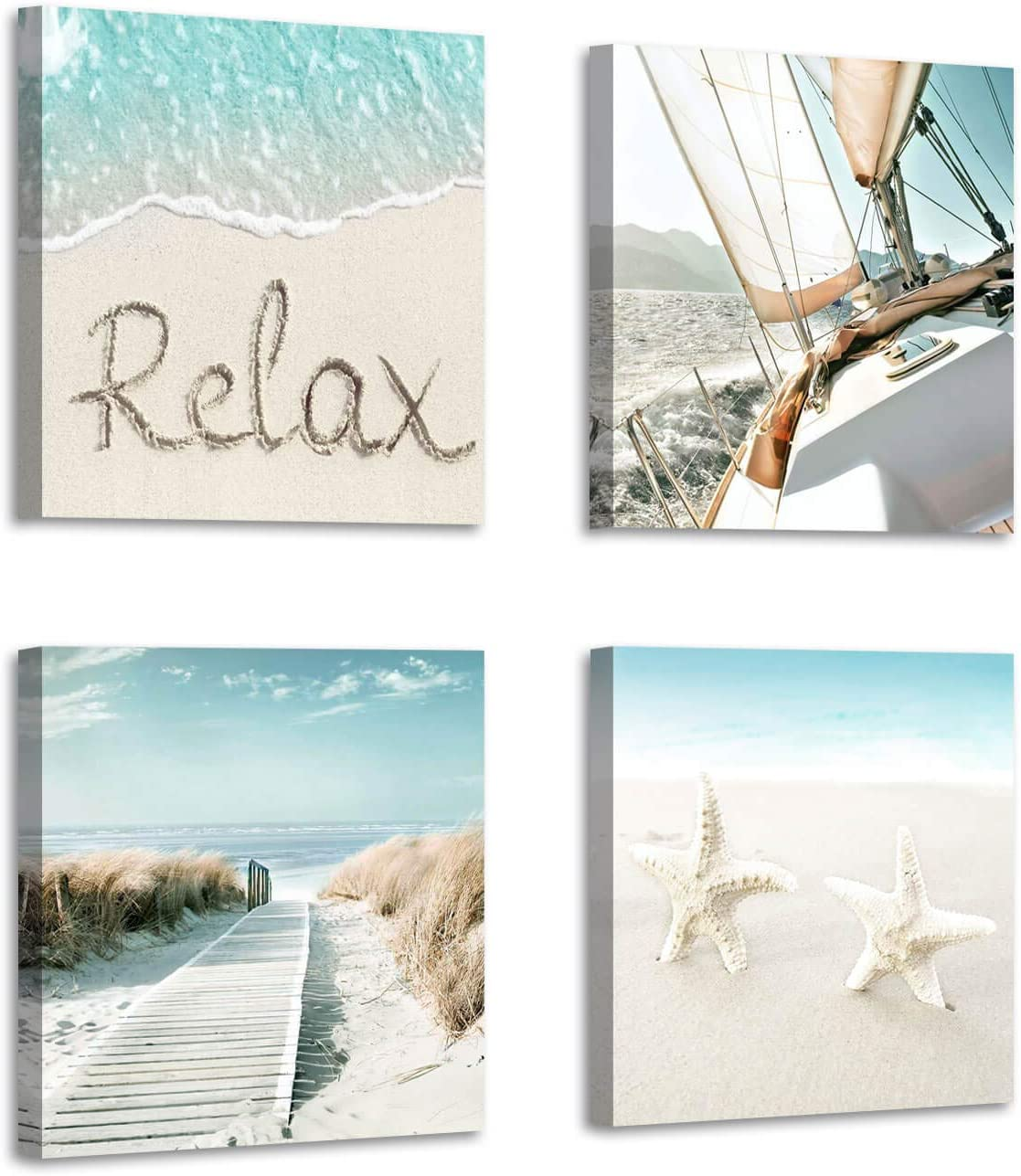 "Beach Theme Canvas Wall Art: Sailboat Sailing & Starfish & Pathway to Coastal Picture Photographic Artwork for Living Room (12"" x 12'' x 4 Panels)"
