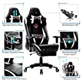Ficmax Massage Gaming Chair Reclining Racing Office Chair High Back Gamer Chair with Footrest Large Size Video Game Chairs Comfortable Gaming Desk Chair with Headrest and Lumbar Support