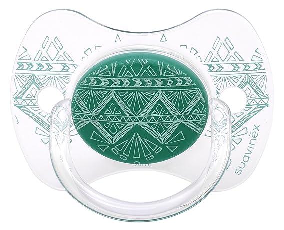 Chupete premium Suavinex Couture con tetina fisiológica de silicona, diseño étnico en tonos verdes, para bebés de +18 meses