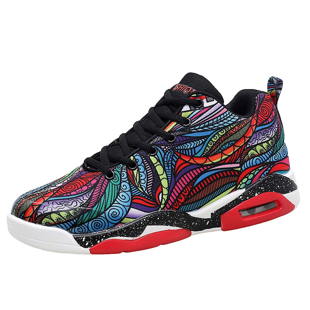 Couple Women Men Sprot Shoes 2019 New Air Cushion Breathable Lightweight Running Outdoor Sneakers (US:8, Multicolor)