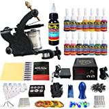 Solong Tattoo® Complete Starter Tattoo Kit 1 Pro Machine Guns 14 Inks Power Supply Foot Pedal Needles Grips Tips TK102